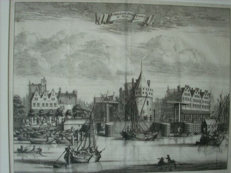 Old Amsterdam waterfront 19th century engraving
