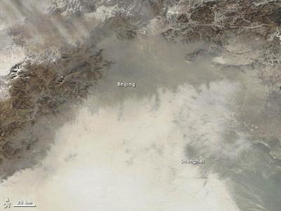 Air pollution satellite image over Beijing/Courtesy NASA