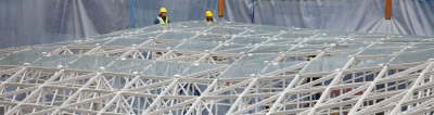 Roof under construction at the Louvre's Islamic Center