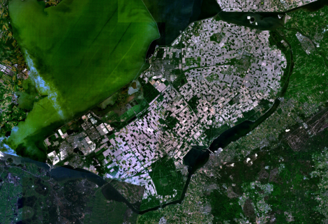 Satellite view of South Flevoland, The Netherlands