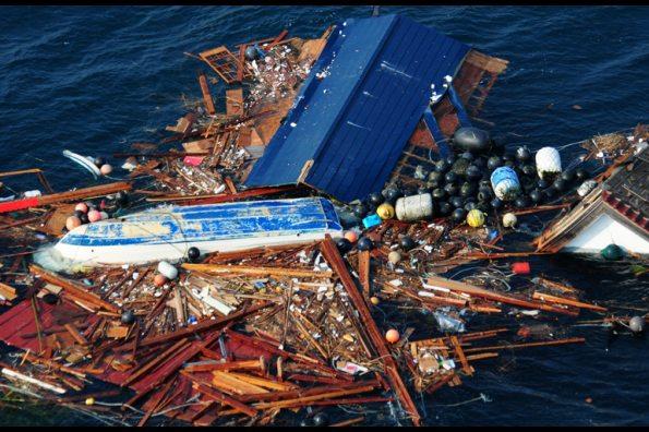 Tsunami debris in the open ocean/Courtesy of US Navy