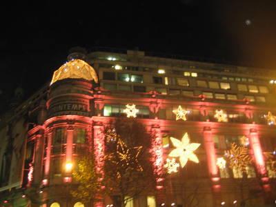 Holiday lights at Printemps, Paris