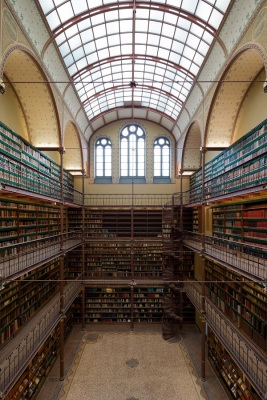 Cuypers Library is a wrought-iron three-story structure. Photo by Iwan Baan. Courtesy of the Rijksmuseum.