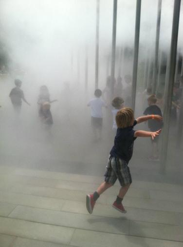 Kids enjoying the cloud sculpture in Buhl Park Pittsburgh