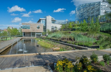 The Center for Sustainable Landscapes opened in February. This view shows how the landscape has an active relationship with the building in managing all of its sanitary water. Photo Paul Wiegman