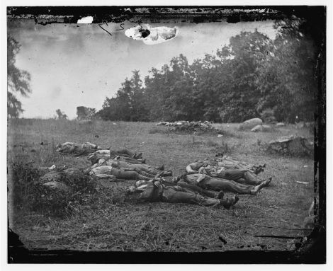 Civil War dead in the  Wheatfield near the Emmitsburg Road, Battle of Gettysburg, July 2 1863