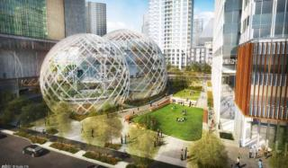 Design for Amazon's new Seattle campus. Credit NBBJ