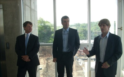 Key CSL team members (from left): Phipps Executive Director Director Richard Piacentini, Jose Alminana (Andropogon- masterplan and site design) and Chris Minnerly (principal architect, Design Alliance Architects)