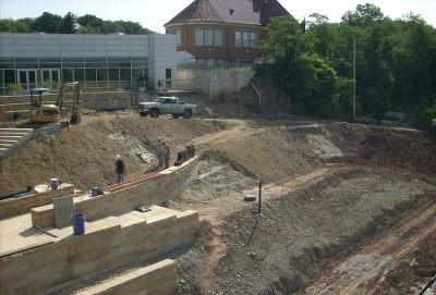 CSL's constructed landscape (stormwater friendly!) being built in May 2012.