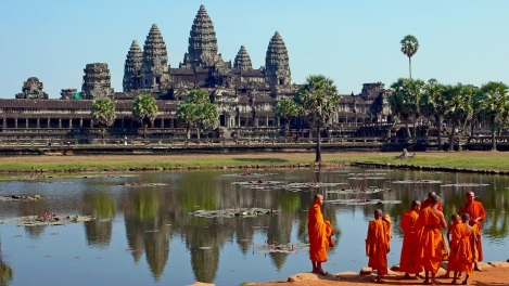 Buddhist monks in front of Angkor Wat