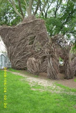 Patrick Dougherty stickwork at Brown University campus