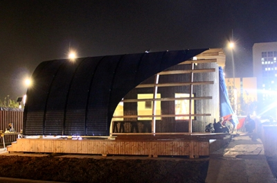Team Sweden's Halo house at night -- under construction. Courtesy of Team Sweden.