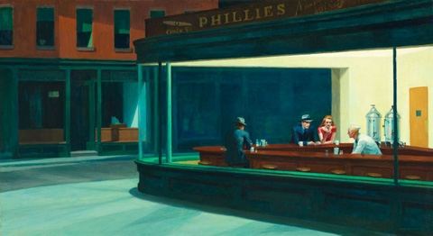 """Edward Hopper """"Nighthawks,"""" Art Institute of Chicago, all rights reserved."""