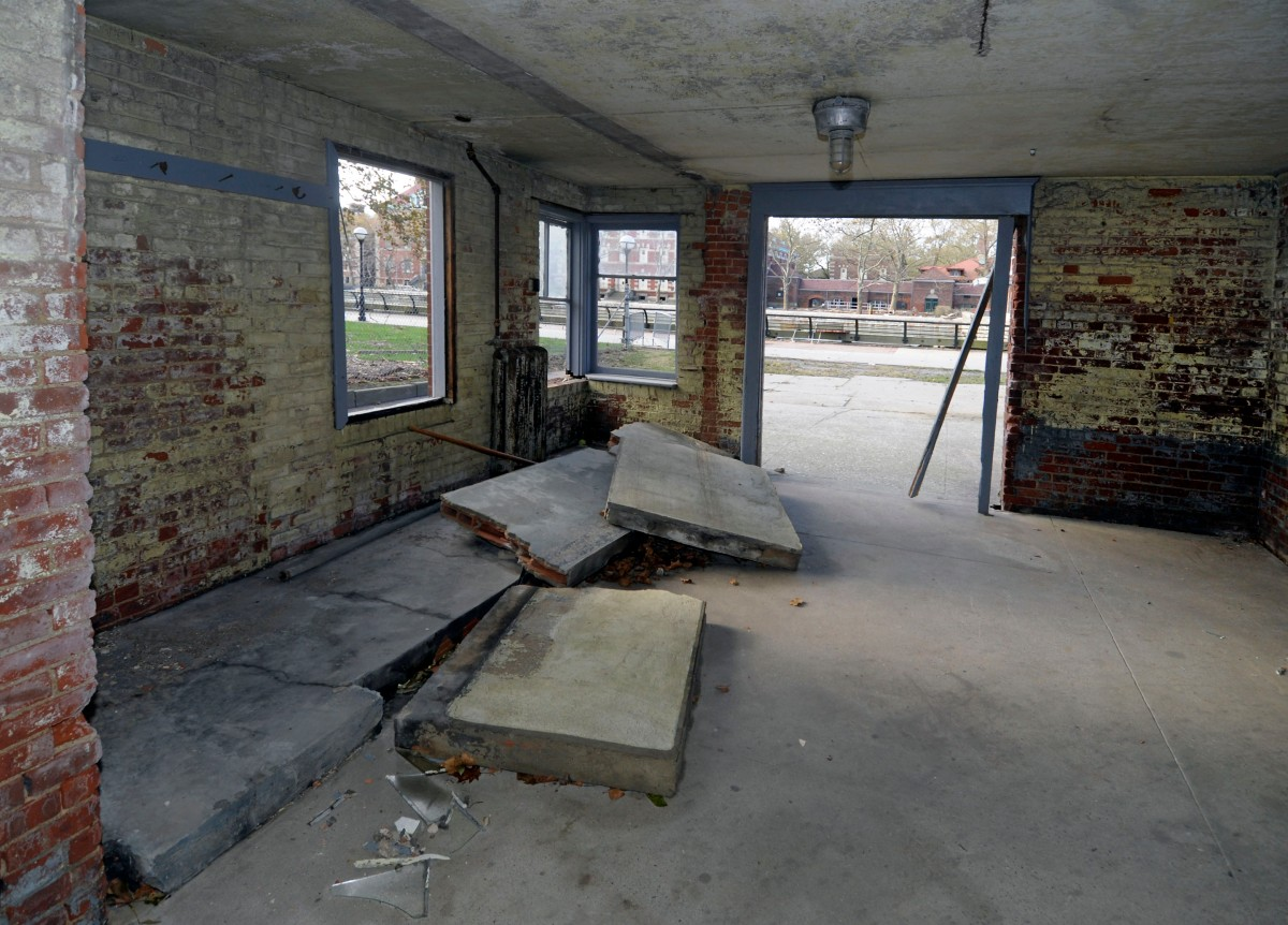 Damage in the historic corridor at the Ellis Island Immigration Museum. Courtesy of the National Park Service.