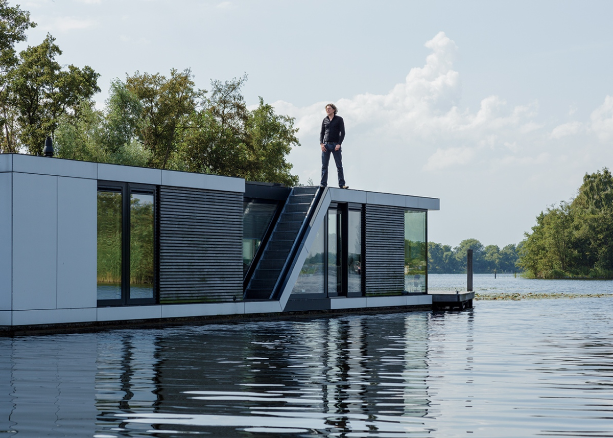 Waterborne House designed by Dutch rchitect Koen Oithuls is in the village of Kortenhauf. See the Fast Company articles for details