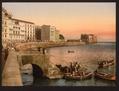A photomechanical print of Via Partenope Street, Naples Italy published between 1890 and 1900 Library of Congress