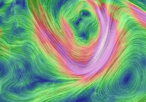 Mid-level winds associated with the displaced polar vortex early on Jan. 7, 2014. (earth.nullschool.net)