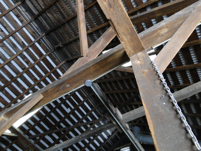 Chestnut roof beams at the PBG barn from the 1880's