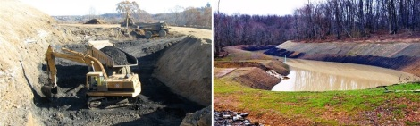 Reclamation in progress and one of the permanent irrigation ponds