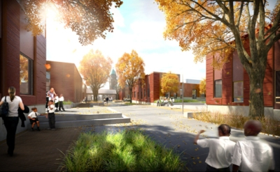 Exterior rendering of the campus
