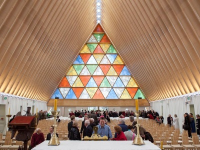 Cathedral in Christchurch New Zealand, made of paper tubes, was built after the earthquake and opened in 2013.