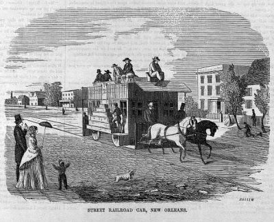 Streetcar New Orleans (engraving by Bellew) 1855