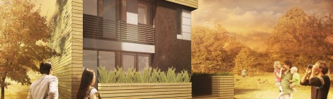 Rendering of Maison Reciprocite, one of the 20 team solar-powered houses competing in Versailles France.
