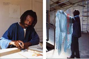 Malian-born artist-designer Aboubakar Fofana at work in his atelier