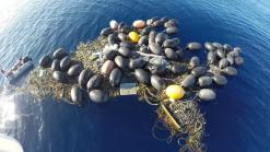 Floating pile of trash -- buoys and line. Courtesy of the Algalita Foundation.