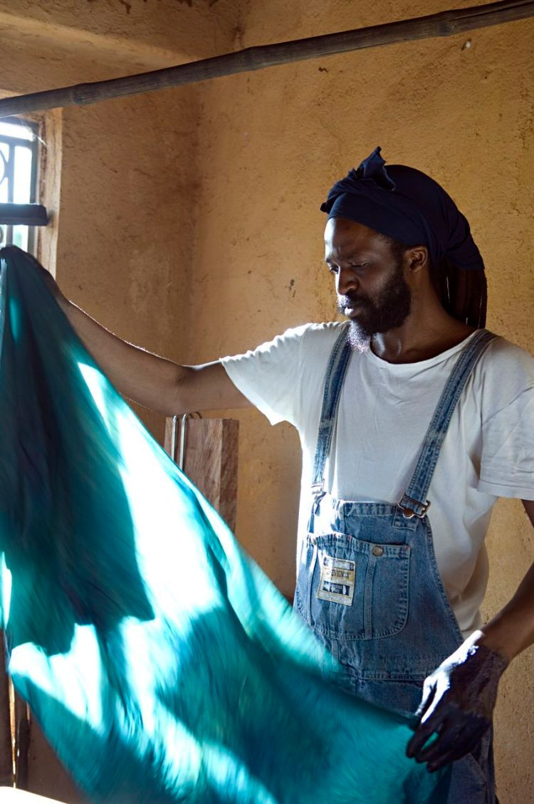 Aboubakar Fofana, Malian-born artist and designer,  in his atelier