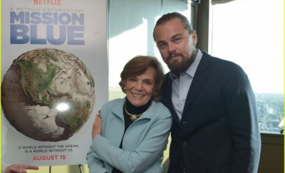 Sylvia Earle with Leonardo Di Caprio who has gone on dives with Mission Blue's founder