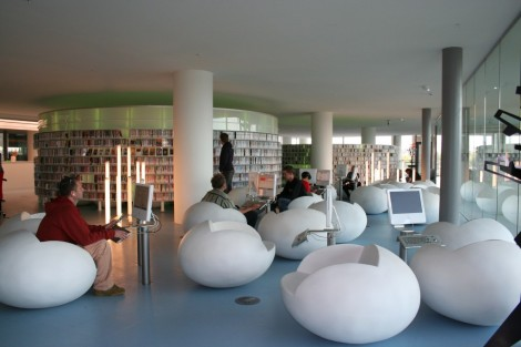 Amsterdam's central public library has fun furniture, 600 terminals, a restaurant and books too! Courtesy of mimoa.