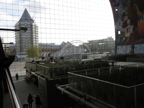 View from the market's mezzanine captures the view of landmark buildings