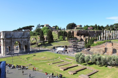 Palatine Hill from the Coliseum 2011 Courtesy of Wiki Commons