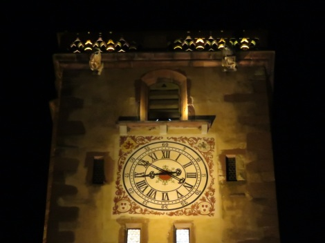 Clocktower at night in Ribeauville France