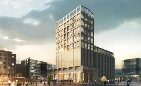 A rendering of Thomas Heatherwick's design for the Zeitz Museum of Contemporary African Art created from the ruins of a former grain silo on Cape Town's V and A waterfront