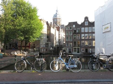 Amsterdam Canal with bikes near Vredenburgersteeg. Photo by Bobbie Faul-Zeitler