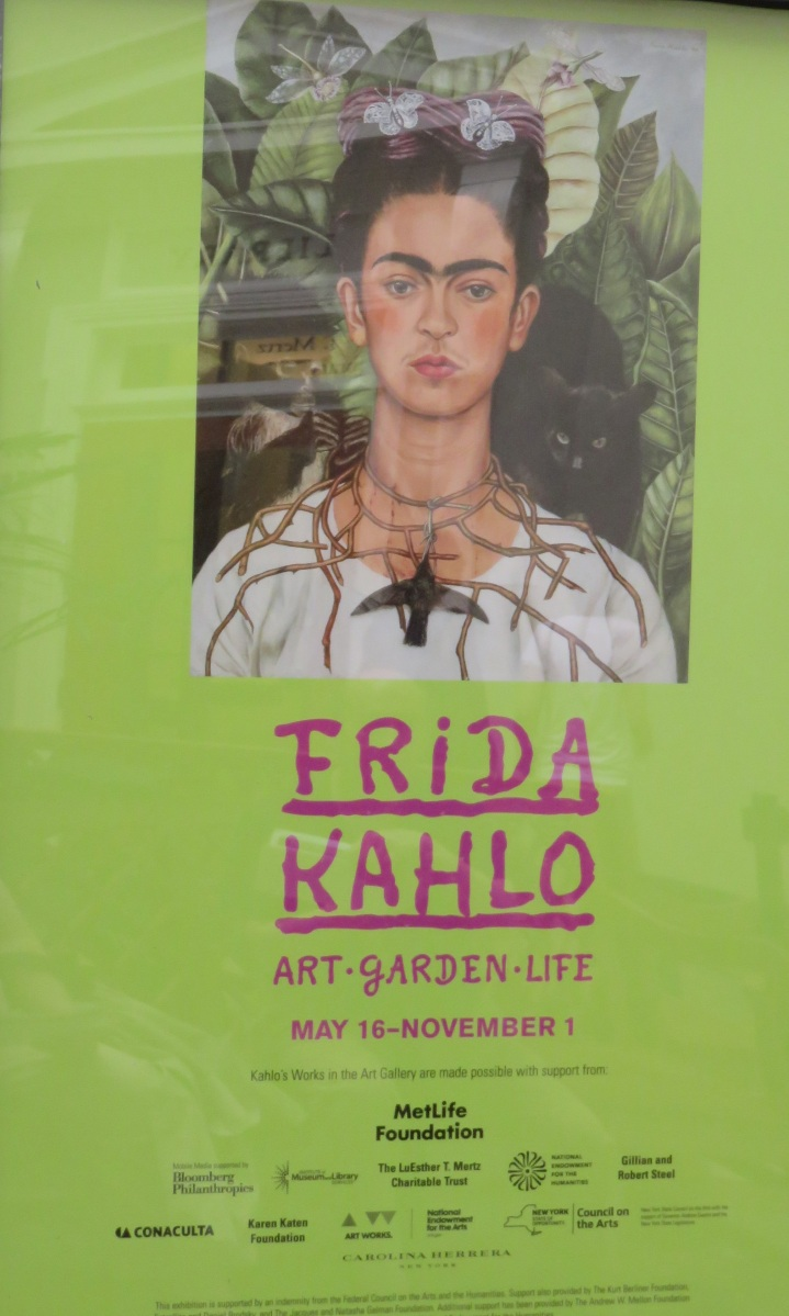 One of the signature works in the NYBG exhibition, Self-Portrait with Thorn Necklace and Hummingbird, is also used as the show's logo. Normally, the hummingbird is considered a love charm, but here the blackened bird appears to be dead. (Harry Ransom Center, The University of Texas at Austin. © 2014 Banco de México Diego Rivera Frida Kahlo Museums Trust.)