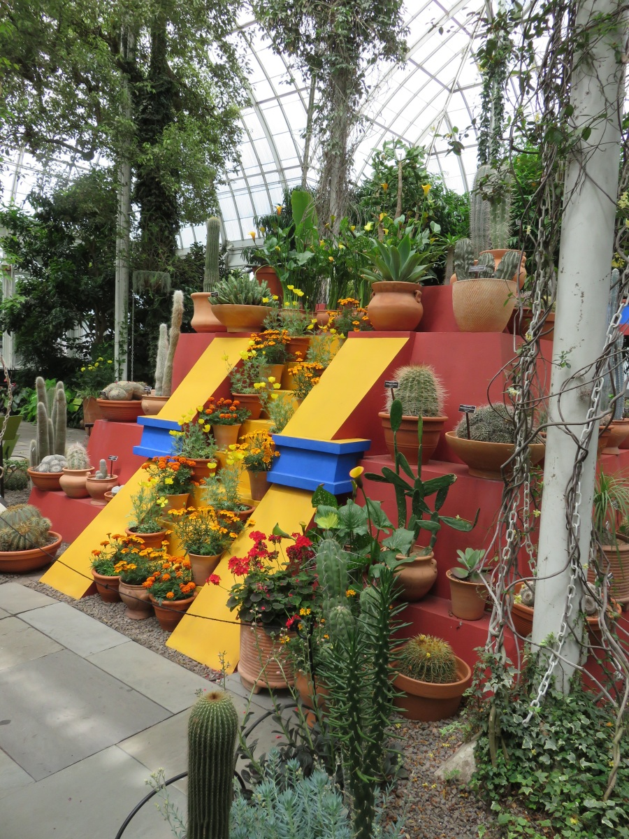 Installation in the NYBG Conservatory recreates the pyramid in Casa Azul's garden, with a selection of native Mexican plantings.