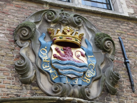 Coat of arms for the province of Zeeland in the Netherlands, at a medieval abbey in Middelburg. This is a lion that rises victorious from the water - an allusion to Middelburg's prominence as a port. (Bobbie Faul-Zeitler CC 3.0)