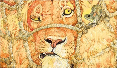 Based on Aesop's fable of the Lion and Mouse, a contemporary version with illustrations by Jerry Pinkney