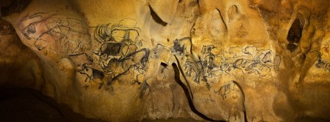 Lion panel in the Chauvet Cave. Courtesy of National Geographic.