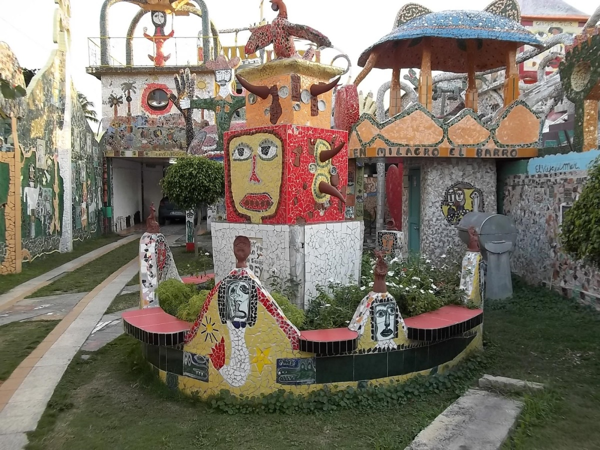 The amazing world of Jose Rodriguez Fuster in Jaimanitas, the northwest edge of the capital. Fusterlandia covers the artist's property, fence and goes into the neighborhood.
