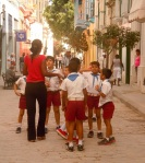Kids on the street in a restored area of Old Havana.