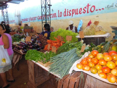 Market in Havana offers organic produce -- it's no big deal.