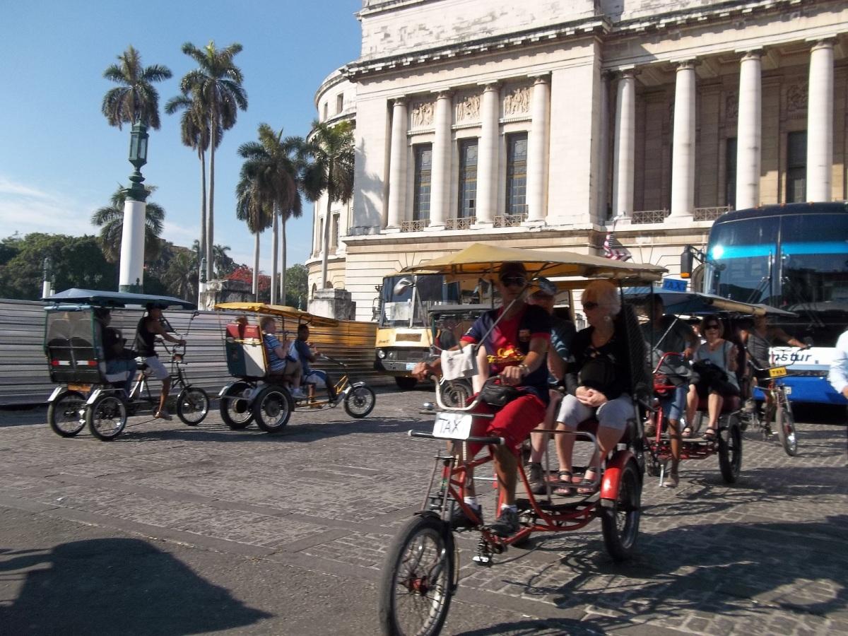 Bicycle power in Havana. Rickshaws are popular way to get around the city.