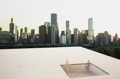 Chicago Horizon, Ultramoderne's winning kiosk is a quest to build the largest flat wood roof possible within a limited budget. Architects Yasmin Vobis, Aaron Forrest, Brett Schneider