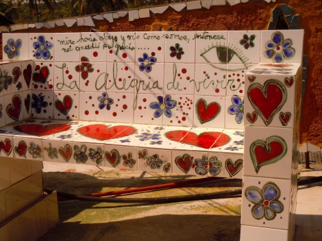 Alegria de Vivir -- a village of 85 buildings covered with ceramic mosaics by the artist in Jaimanitos.