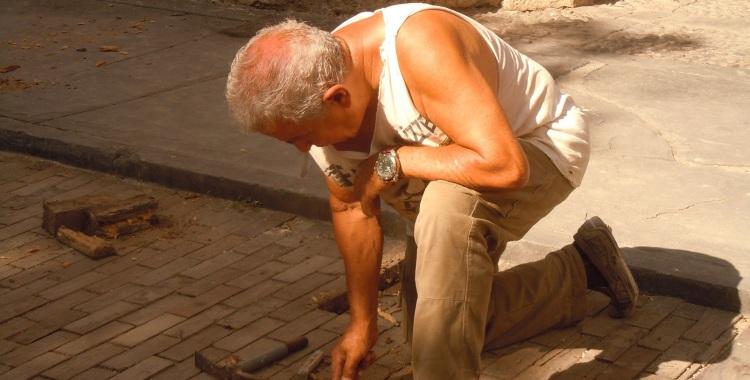Restoring paving in the historic district of Havana Vieja.