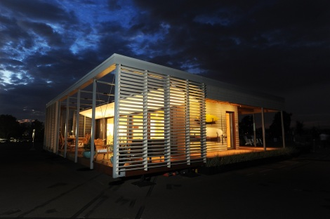 Stevens Institute of Technology at dusk at the U.S. Department of Energy Solar Decathlon 2015 at the Orange County Great Park, Irvine, California (Credit: Thomas Kelsey/U.S. Department of Energy Solar Decathlon)